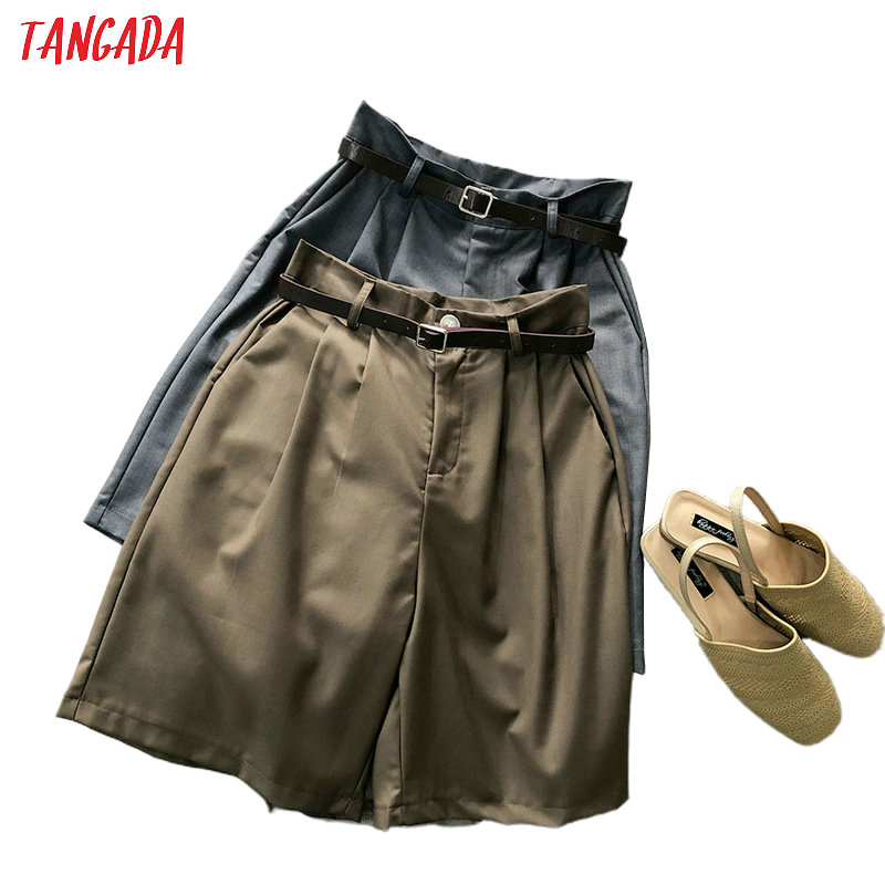 Tangada  Women Elegant Solid Shorts With Belt Pockets Female Retro Basic Office Lady Shorts Pantalones ASF56