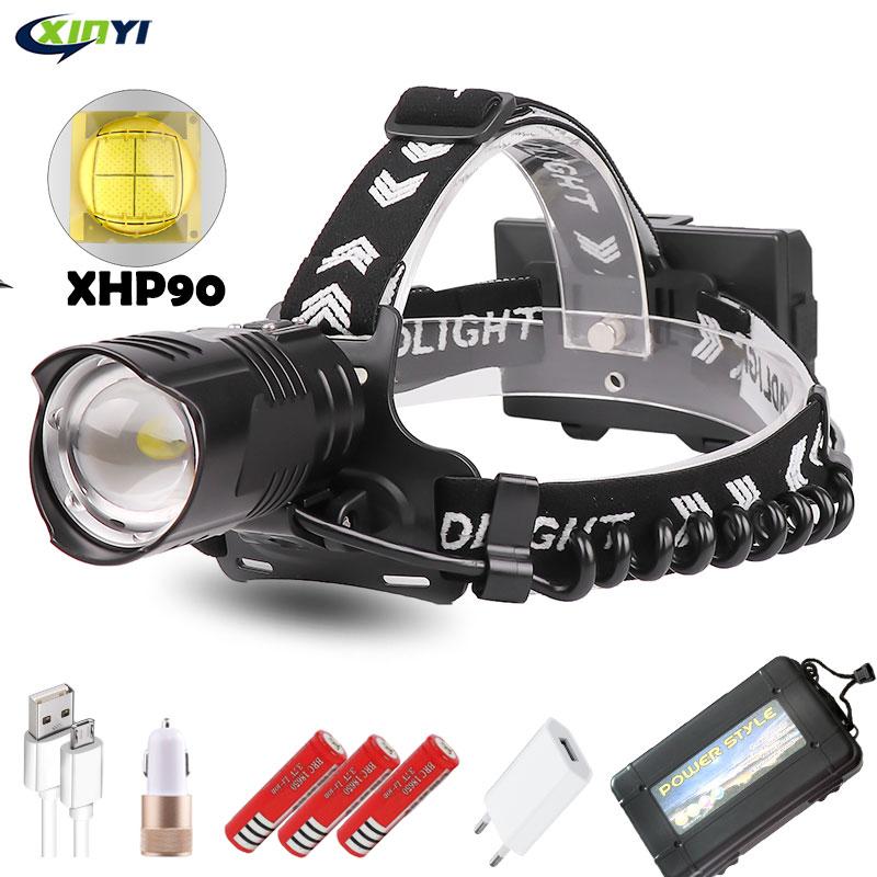 300000LM Leistungsstarke XHP90/70/50 Led scheinwerfer USB Aufladbare Scheinwerfer 3 Modus Zoom kopf lampe taschenlampe Laterne für Camping