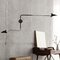 Nordic Black Double head Wall Lamp Rotating Duckbill Iron Lampshade Wall Sconce Home Decor 110 240V