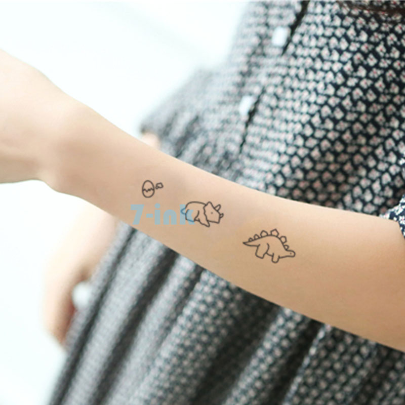 Water Transfer Tattoo Cute Cartoon Dinosaur Egg Cat Bird Tattoo Waterproof Temporary Fake Tattoo For Man Woman Kid 10.5*6cm