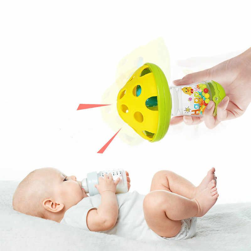 Bebê não-tóxico confortante mordedor do bebê brinquedos cogumelo mão jingle agitando sino chocalhos do bebê brinquedos música handbell crianças cor aleatória