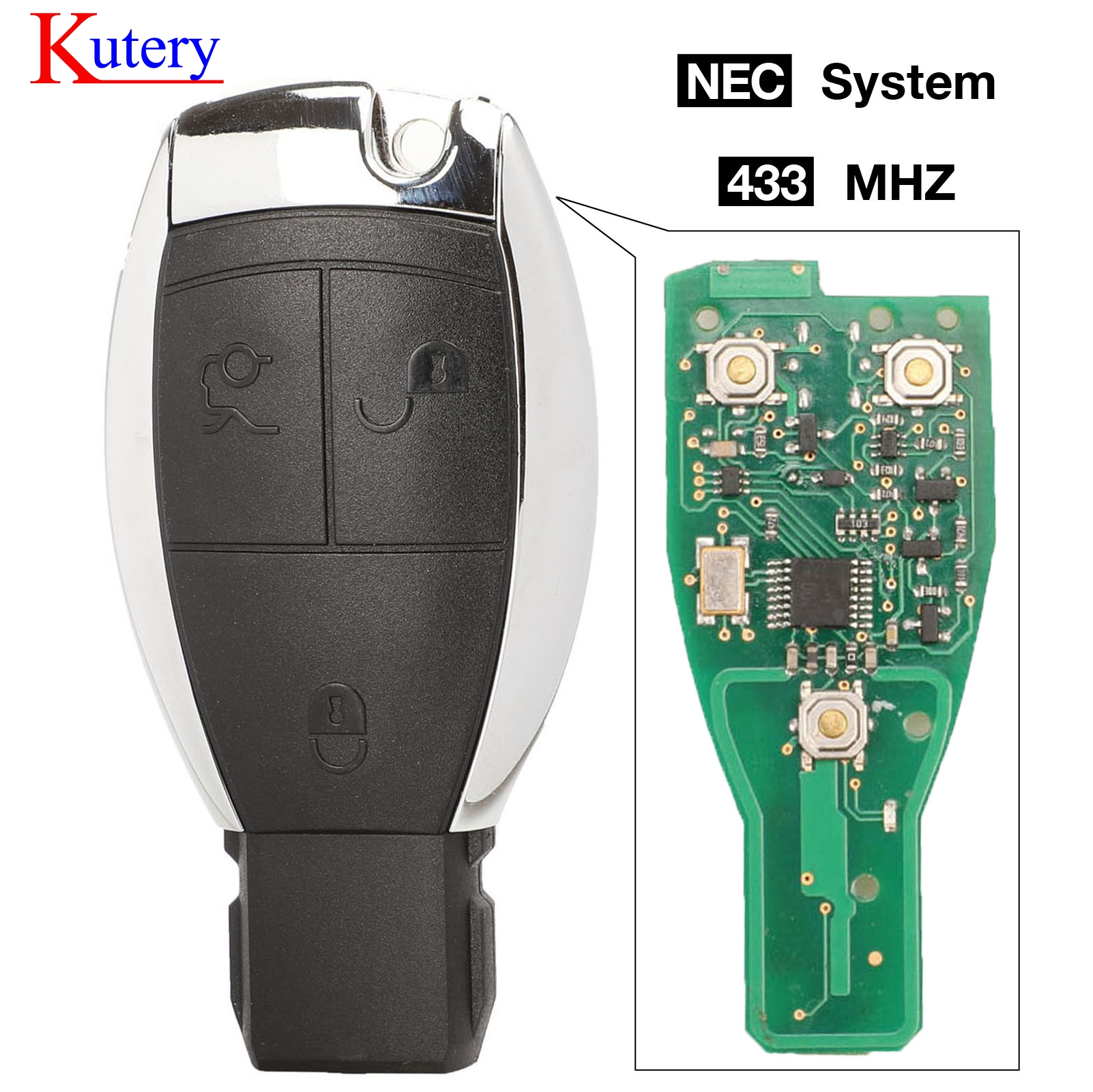 kutery NEC 3 Button <font><b>Remote</b></font> Car <font><b>Key</b></font> Fob 433Mhz For Mercedes For Benz CLS W204 W202 W212 <font><b>W211</b></font> W203 W205 image