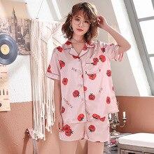 Sleep Lounge Pajama Sets Women Floral Printed 2 Pieces Set C