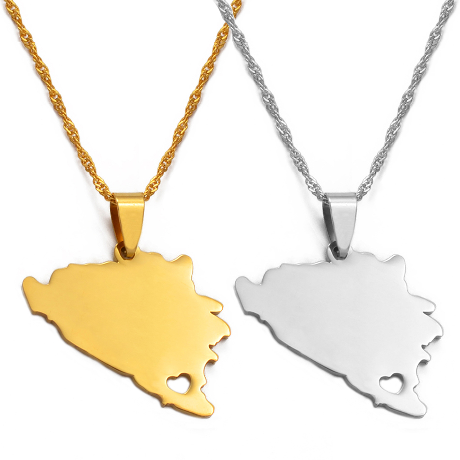 Anniyo Bosnia and Herzegovina Map Pendant Necklaces Women Gold/Silver Color Charm Bosnian Maps Jewelry Patriotic Gifts #017821