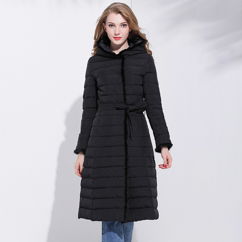Down Women's Jacket Hooded Ladies Duck Down Coat Female 2020 Korean Thick Warm Long Female Jacket + Belt Fur Hiver LW739