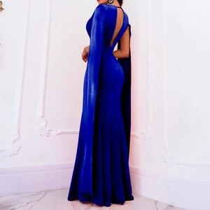 Image 2 - Элегантное осеннее облегающее длинное платье Adogirl без рукавов с глубоким V образным вырезом, женские сексуальные вечерние Клубные платья с открытой спиной, наряд, платья