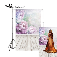 Beebuzz photo backdrop wood floor with big purple flowers backgroung studio and family portraits photophone
