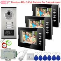 7 White/Black for choose 2/3/6 Monitors Video Door Phone Intercom for Apartments Intercom With Video Camera FRID Access Control