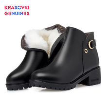 Krasovki Genuines Wool Women Snow Boots Warm Warm Shoes Plush Ankle  Genuine Leather Fur Boots Platform for Women Winter Boots 100% genuine leather natural fur snow boots warm wool women boots classic waterproof ankle boots women shoes lady winter boots