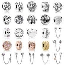 2019 New Bead Charm Heart Key Loveed Flower Safety Chain Rose Gold Stopper Fit Women Pandora Bracelet Bangle DIY Jewelry