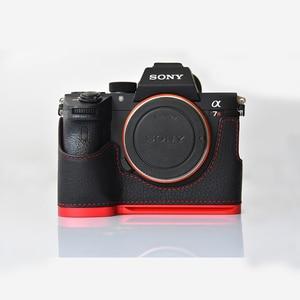 Image 2 - עור אמיתי מקרה מצלמה תיק מעטפת כיסוי עבור Sony A7R MarkIII A7M3 A7RIII A9 יד גריפ מחזיק אלומיניום שחרור מהיר L פלאט