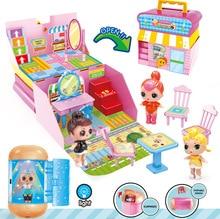 Игровой домик ЛОЛ куклы сюрприз детская игровая кукольная мебель с капсулой свет увеличительное стекло игрушки подарки для девочек