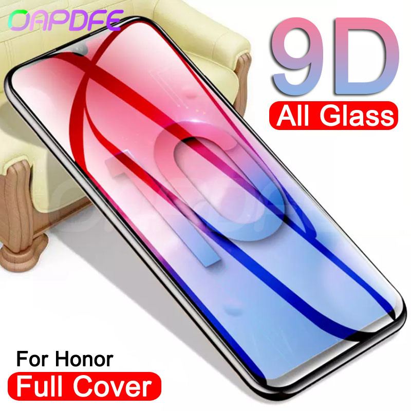 9D Full Cover Tempered Glass on the For Huawei Honor 20 10 Lite V10 V9 Play V20 Screen Protector Honor 9 8 Lite Protective Film image