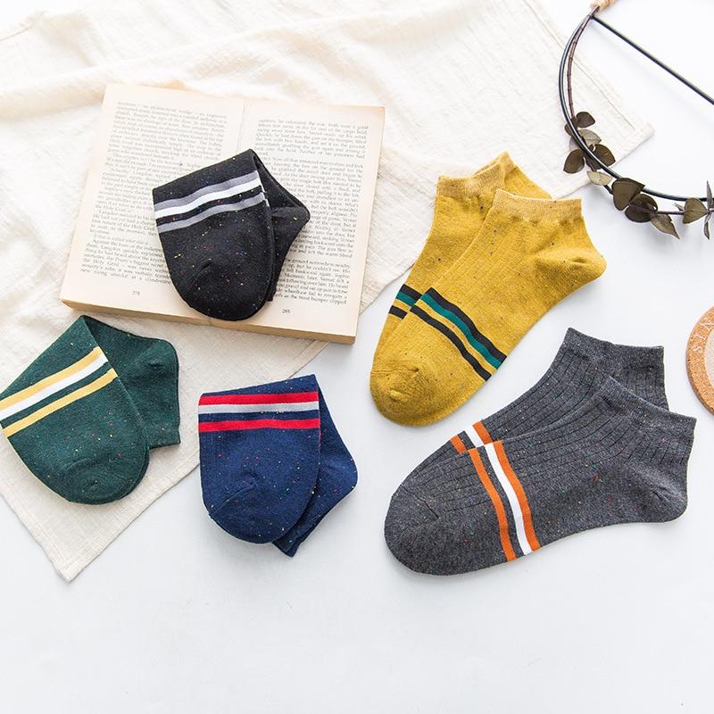 1 Pair Men Socks Cotton Short Invisible Breathable Socks New Arrival Spring Summer Striped High Quality Men's Socks