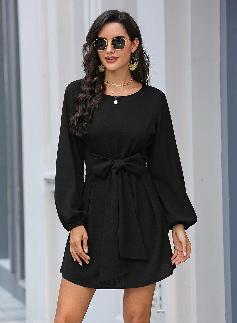 Black Lantern Sleeve Round Neck Casual Dress 20