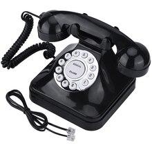 Telefone antigo retrô, telefone de mesa para casa e escritório, com fio retrô preto