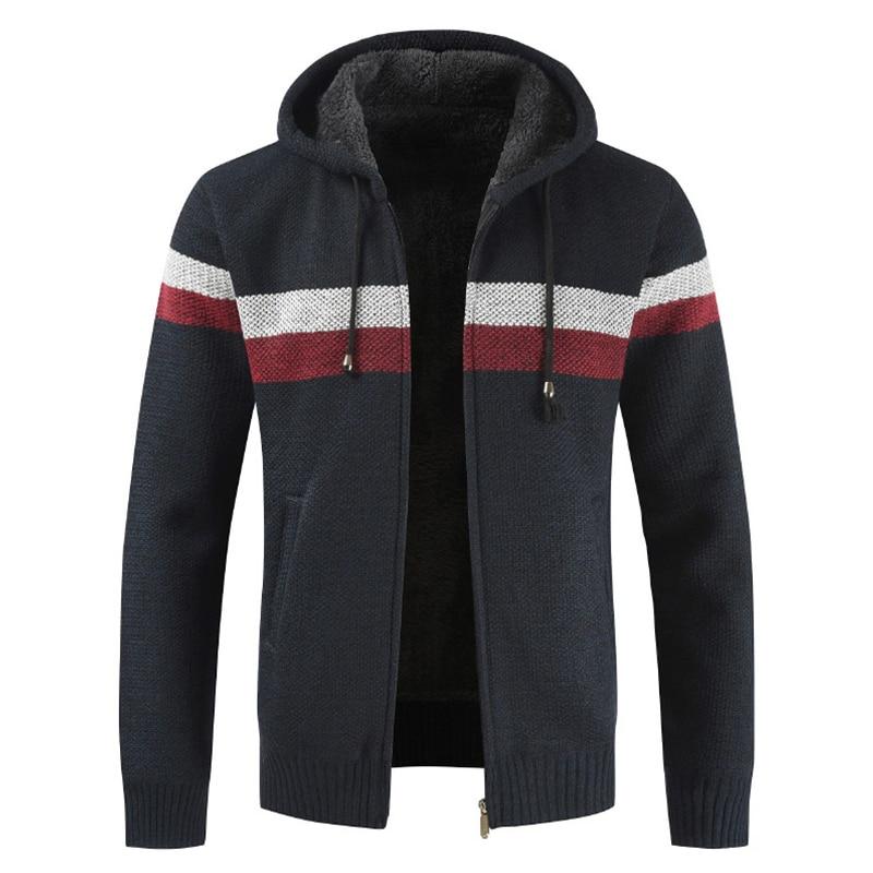 MoneRffi Sweater Coat Men 2019 Winter Thick Warm Hooded Cardigan Jumpers Men Striped Cashmere Wool Liner Zipper Fleece Coats Men