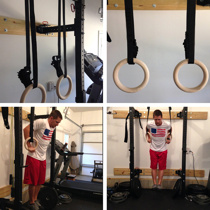 Procircle Wood Gymnastic Rings 28 Gym Rings with Adjustable Long Buckles Straps Workout For Home Gym & Cross Fitness