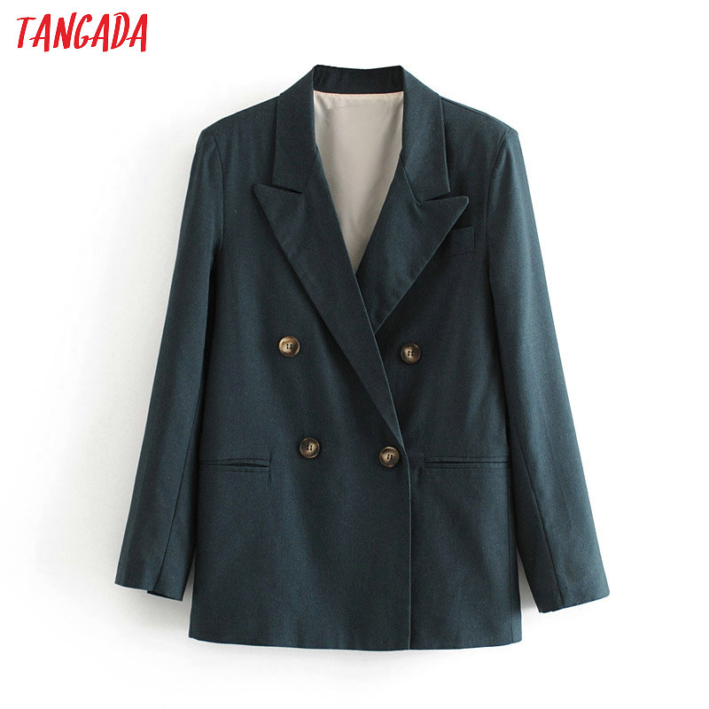 Tangada Women Vintage Oversized Cotton Blazer Female Long Sleeve Elegant Jacket Ladies Work Wear Blazer Suits 6A51