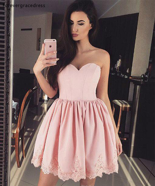 2019 Cheap Newest Pink Cocktail Dress A-line Sweetheart Juniors Sweet 15 Graduation Party Dress Plus Size Custom Made