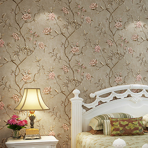 Image 3 - ירוק טורקיז פרחוני מובלט טפט לחדר שינה סלון קירות Romatic אדום פרח קיר נייר בית תפאורה בז