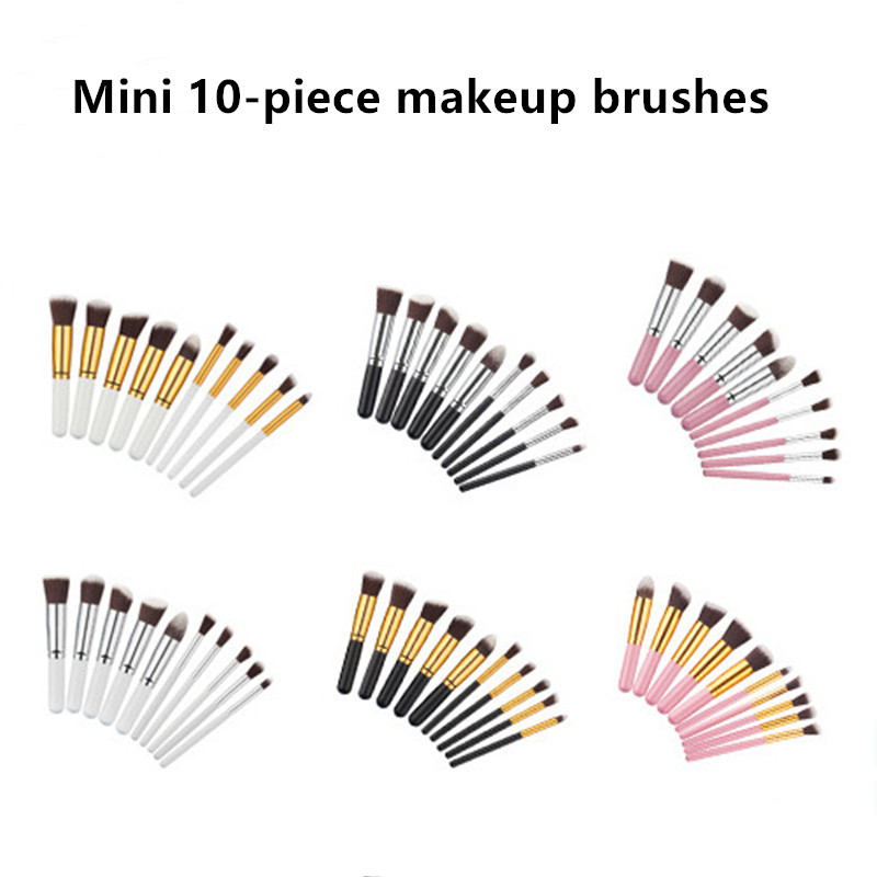 Makeup Brush Set 11pcs High Quality Mini Short Handle Natural Synthetic Hair Nake Up Brush Tools Kit Professional Makeup Brushes