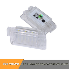 2pcs LED White luggage compartment trunk lights for Volvo C30 S60 S80 V70 V60 C70 XC70 XC90 V40 V50 XC60 car styling цена 2017