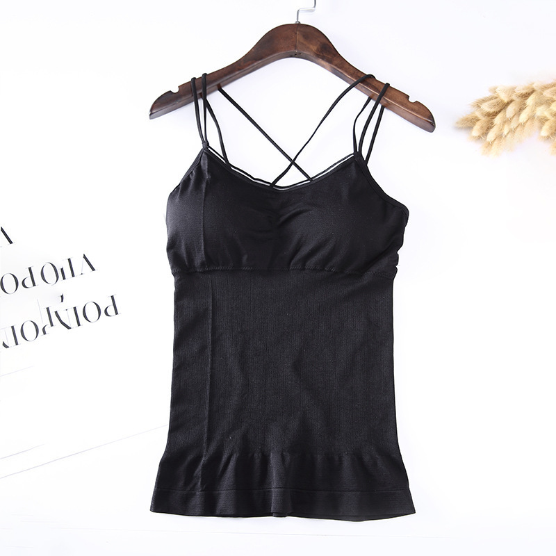 Underwear Chest-Cushion Seamless Sports Women's Waistcoat Long with One-Piece