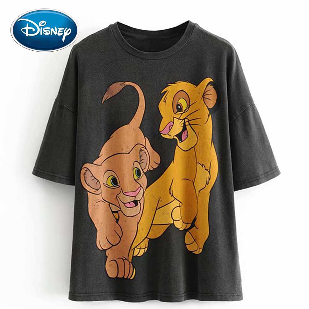 Disney Stylish The Lion King King Of The Jungle Cartoon Print Women T-Shirt O-Neck Pullover Short Sleeve Casual Two Lion Tee Top
