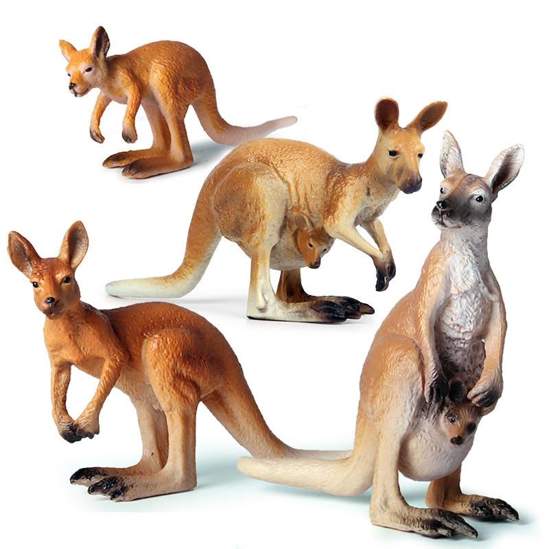 4 Kinds Solid Simulation Kangaroo Animal Figure Collectible Toys Wild Animal Action Figures Kids Plastic Cement Toys