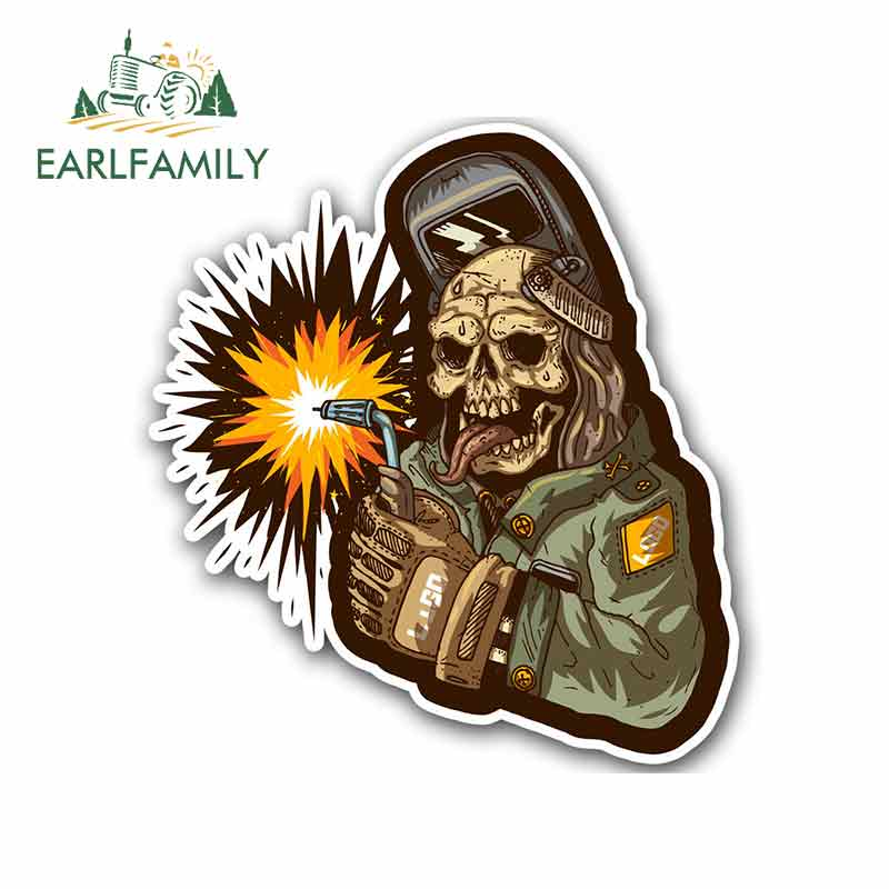 EARLFAMILY 13cm For Zombie Welder Welding Helmet Personality Car Graffiti Sticker Creative Decal Suitable For RV Decoration(China)