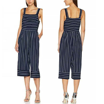 Blue Striped Rompers 2020 Summer new Women Casual Loose Jumpsuit Sleeveless Backless Playsuit Wide Leg Trousers Overalls viianles new women casual wide leg jumpsuit fashion ladies summer cotton loose playsuit bodycon party trousers jumpsuit