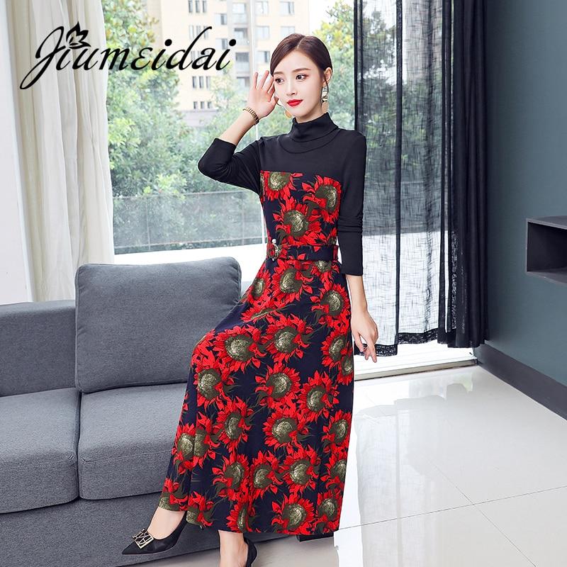 JiuMeiDai Women Chinese Style Long Dress Lady Elegant Red Floral Dresses Female Turtleneck Vintage Party Cheongsam Plus Size