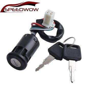 SPEEDWOW-llave de bloqueo para motocicleta, 4 cables, interruptor de encendido, accesorios para motocicleta, ATV, Dirt Bike 50 70 90 110 125 CC