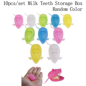 10pcs cute Mini Mouse Shape Plastic Save Milk Teeth Storage Box Baby Teeth Box for Boy Girl Gift Kid Baby Tooth Box Organizer