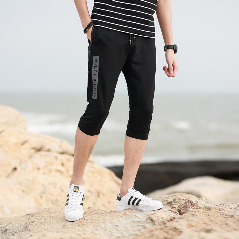 Cropped Trousers For Men Summer Casual Shorts Slim Fit Skinny Pants Zipper Pocket Teenager Fashion Summer Trousers BOY'S