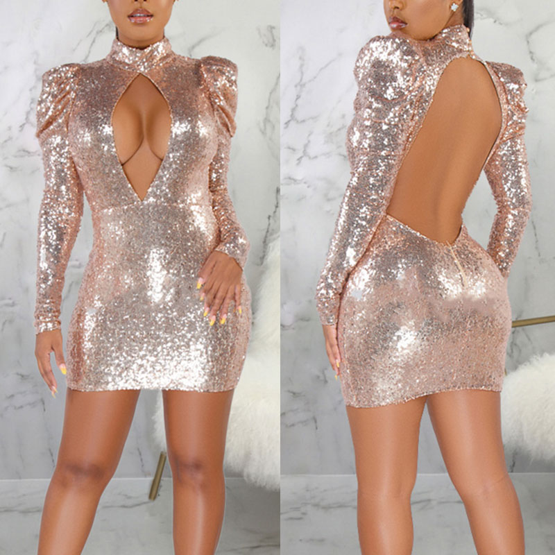 Bikitique Round Neck Hollow Foam Sleeve Backless Sequin Mini Party Dress Women Nightclub Sexy Dress Vintage Plus Dress