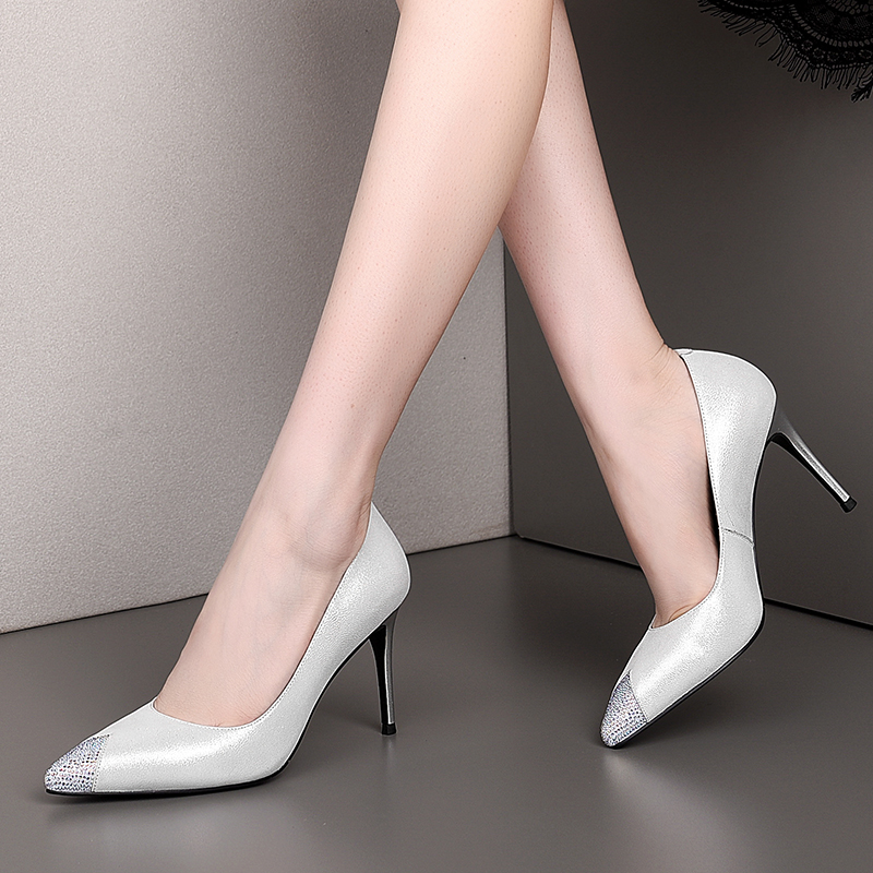 Spring Autumn Single Shoes Female Pointed Toe Genuine Leather High Heel 8.5cm Simple Wild Shallow Mouth Women's Shoes Fashion