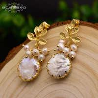 GLSEEVO Natürliche Frische Wasser Barocke Perle Ohrringe Für Frauen Pflanze Blätter Baumeln Ohrringe Luxus Handgemachtes Feine Schmuck GE0308