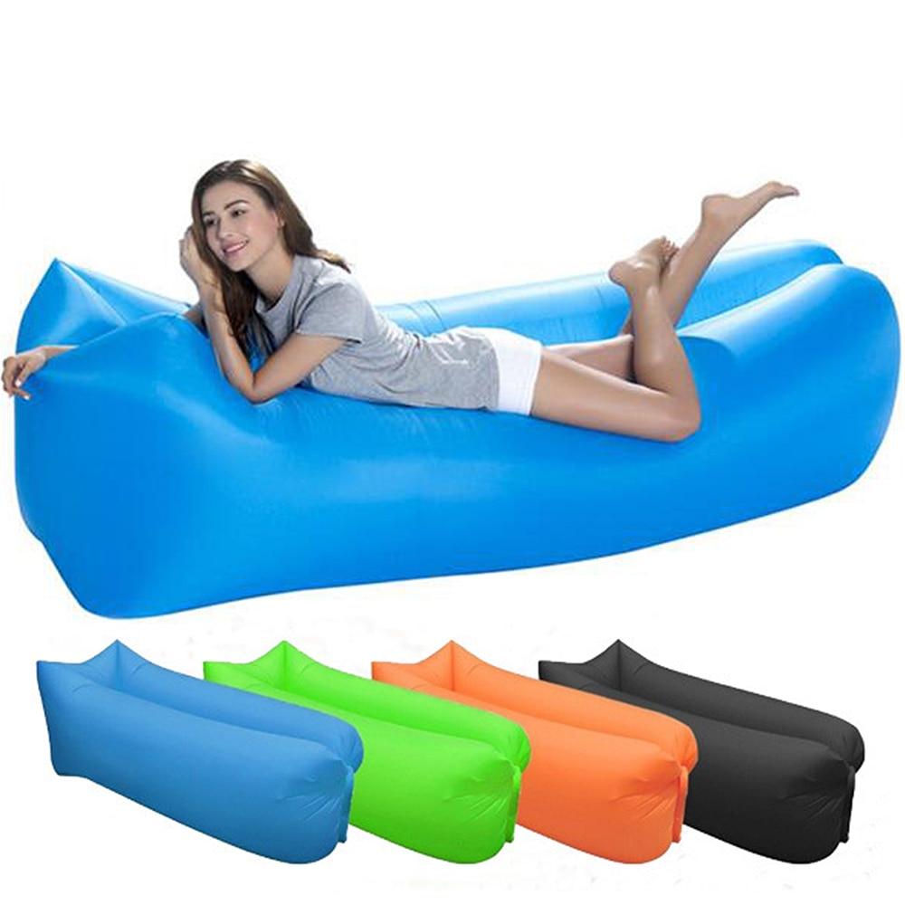 Inflatable Sofa Lazy Bag Camping 3 Season Travel Outdoor Ultralight Sleeping Bags Beach Nylon Air Bed Lounger Trending XA305D