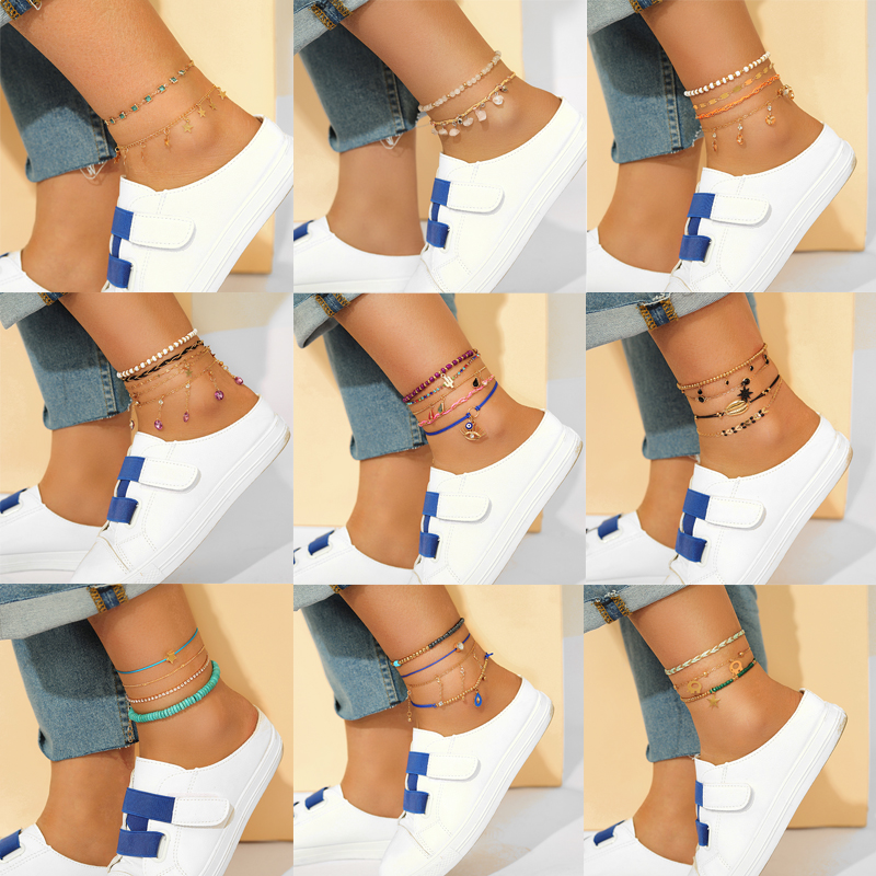 Tocona Colorful Bead Anklets for Women Summer Shell Cactus Handmade Rope Clear Rhinestone Multi-layer Star Foot Chain Jewelry