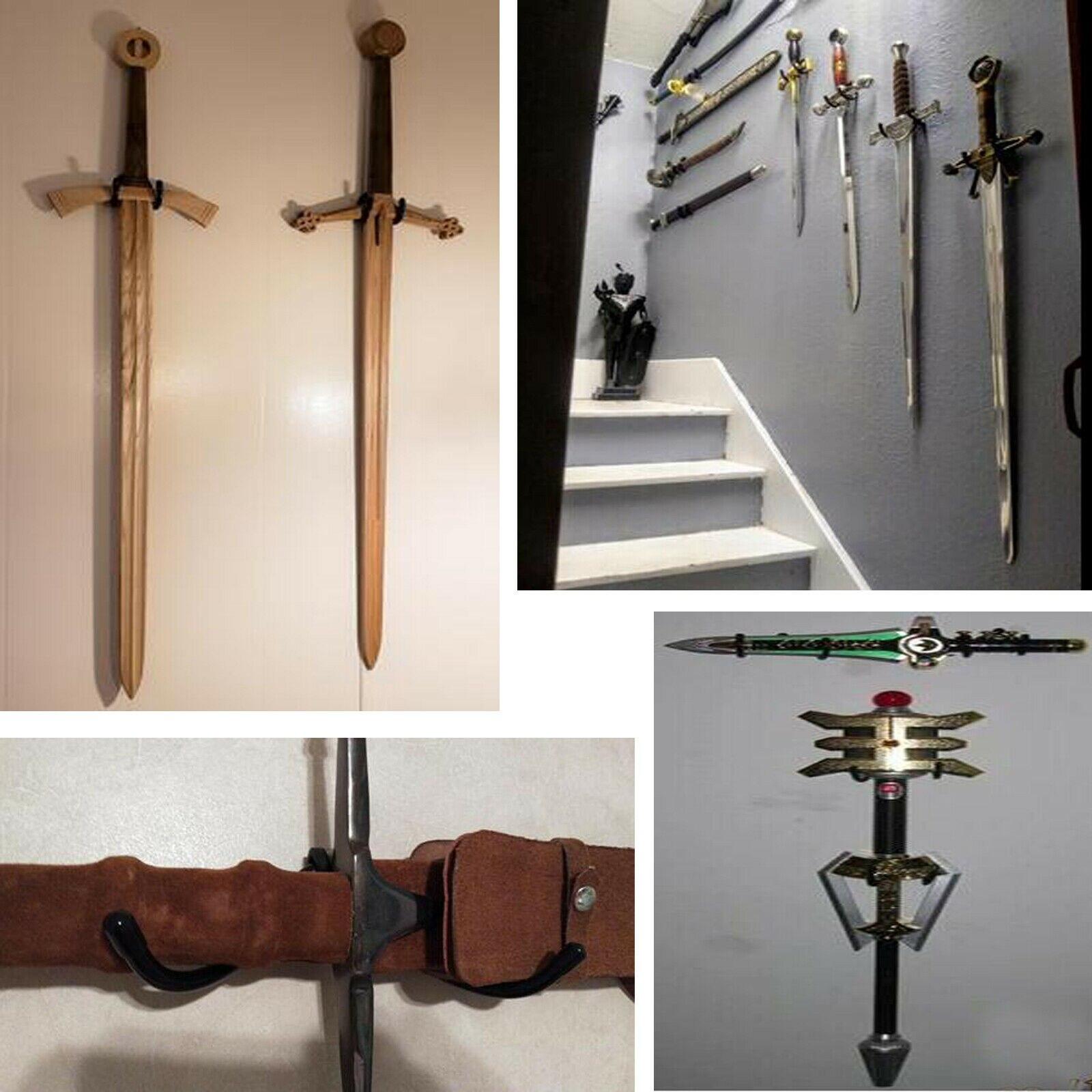 4x display cases deluxe adjustable metal sword wall mount bracket sword stand