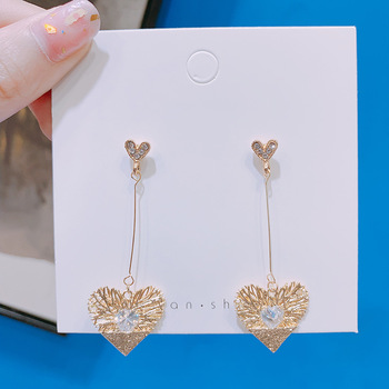 Chinese Style Personality Vintage Goldfish Metal Rhinestones Love Dangle Earrings Fashion Temperament Ladies Jewelry Accessories 2