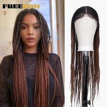 Свободный плетеный синтетический кружевной передний парик для женщин, бесплатная пробежка, красный Омбре, коричневый конский хвост, вязанная коса, волосы, новый стиль, мода