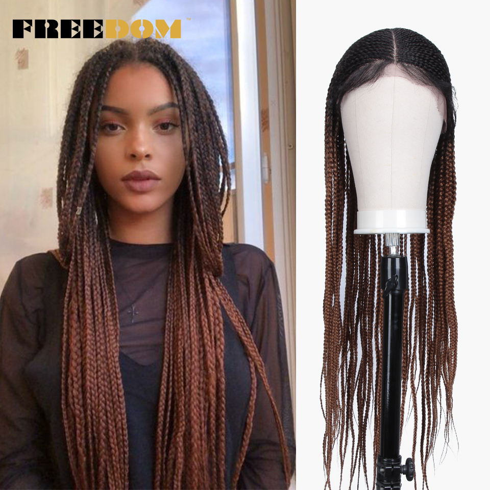 FREEDOM Braided Synthetic Lace Front Wig For Women Free Parting Red Ombre Brown Ponytail Crochet Braid Hair New Style Fashion