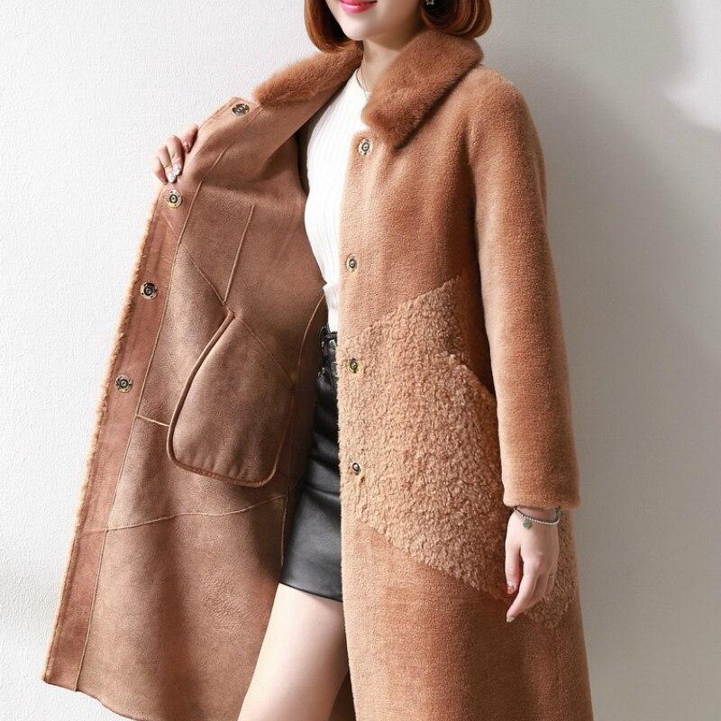 Real Sheep Shearing Fur Coat Female Natural Wool Jackets Women Winter Long Overcoat Spring Mink Fur Collar 2020 LWL1380