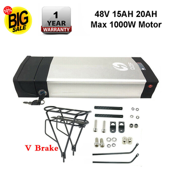 Ebike 48V 20AH akumulator tylny stojak potężne akumulatory rowerowe rower akumulator litowo-jonowy do silnika 48V 1000W tanie i dobre opinie 10-20ah 48 v Bateria litowa YJ04 15AH 20AH More than 800 cycles ≤7Kg 430*160*85 mm (16 93*6 30*2 56 inch) Black Rechargeable