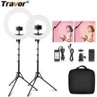 Travor 12inch 18inch Bi Color photography Dimmable makeup ring light 40W 55W with light stand for youtube live