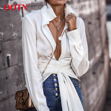 OOTN Sexy White Wrap Top Shirt Women Long Sleeve Blouse Lace Up Knot Office Ladies Blouse Autumn Winter Female Tunic Top 2019