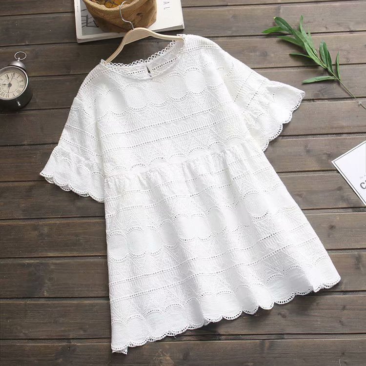 2019 Summer New Style Retro By Age Hollow Out Embroidery Lace White Loose-Fit GIRL'S Dress WOMEN'S Short Skirt